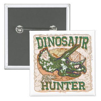 Dinosaur Hunter Triceratops 15 Cm Square Badge