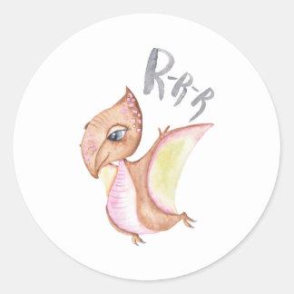 Dinosaur Illustration Classic Round Sticker
