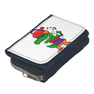 Dinosaur listening music and dancing wallets