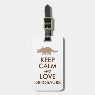 Dinosaur Lover Gift Keep Calm Triceratops Custom Luggage Tag