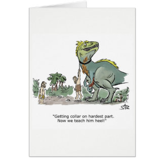 Dinosaur obedience training birthday card