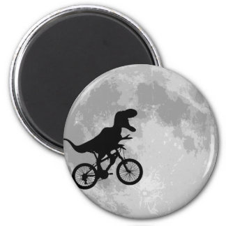 Dinosaur on a Bike In Sky With Moon 6 Cm Round Magnet