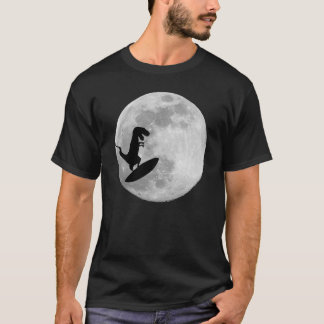 Dinosaur on a Surf Board In Sky With Moon T-shirt