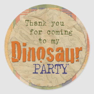 Dinosaur Party Sticker - Thanks for Coming