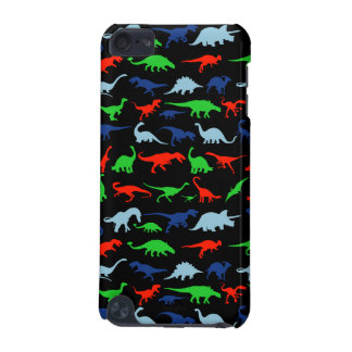 Dinosaur Pattern Green Blue and Red on Black iPod Touch (5th Generation) Cases