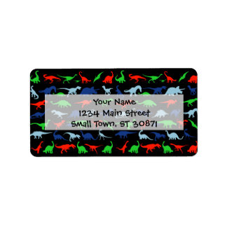 Dinosaur Pattern Green Blue and Red on Black Address Label