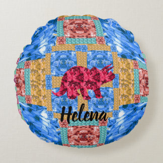 Dinosaur Personalized Pillow Round