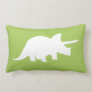 Dinosaur Pillow in Green with Grey Chevron Stripes