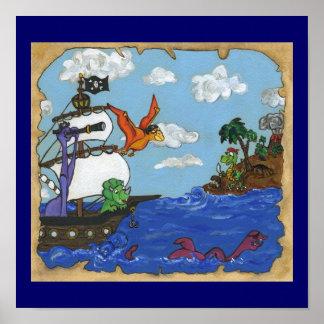 Dinosaur Pirate Ship Poster