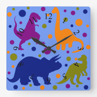 Dinosaur polka dot cute animal kids room square wall clock