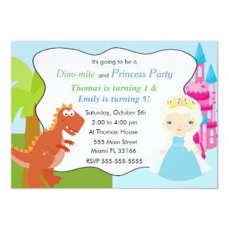 Dinosaur Princess Invitation Kids Birthday Party 3