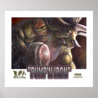 Dinosaur Pumping Iron Poster