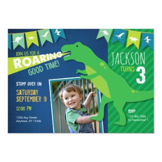 Dinosaur Roaring Boy Birthday Party Invitation