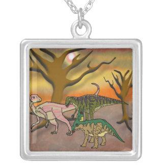 Dinosaur Romp Square Pendant Necklace