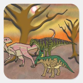 Dinosaur Romp Square Sticker
