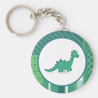 Dinosaur round keychain in blue/green