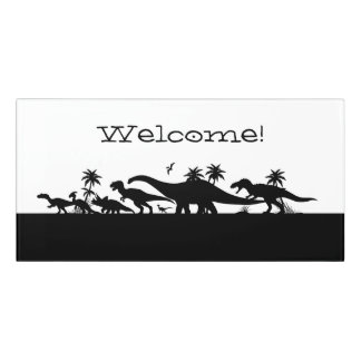 Dinosaur Silhouettes Door Sign