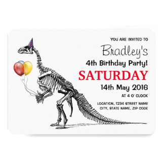 Dinosaur Sketch Balloons Historic Birthday Party 13 Cm X 18 Cm Invitation Card