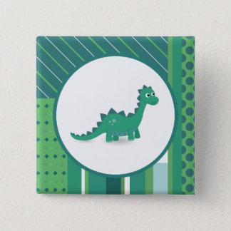 Dinosaur square pinback button