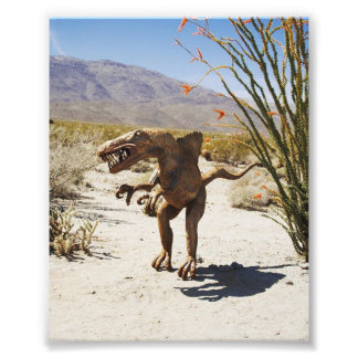 Dinosaur statue in the desert photo print