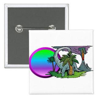 Dinosaur Sunset 15 Cm Square Badge