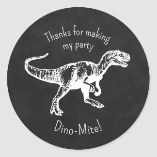Dinosaur Thank You Party Favor Chalkboard Stickers