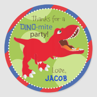Dinosaur Tyrannosaurus Rex Birthday Cupcake Topper Classic Round Sticker
