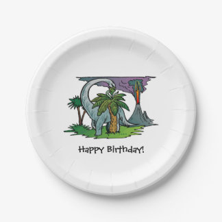 Dinosaur Volcano Birthday Party Paper Plates