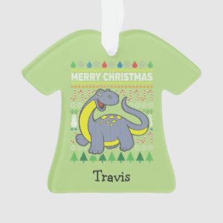 Dinosaur Wildlife Merry Christmas Ugly Sweater Ornament