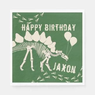 Dinosaur with Balloons Birthday Paper Napkin
