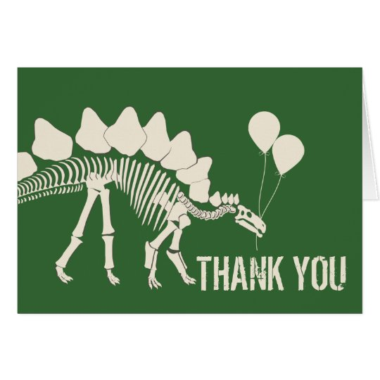 Dinosaur with Balloons Thank You Card