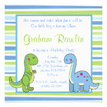 dinosaurs birthday party fun cute sweet blue green invite