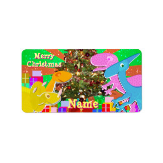 Dinosaurs by Christmas Tree Gift Label Stickers Address Label