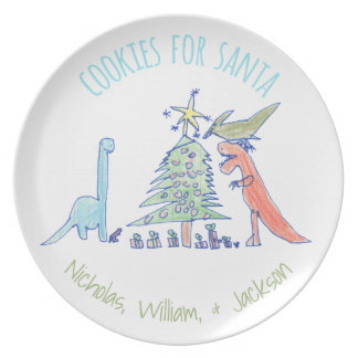 Dinosaurs Cookies for Santa Christmas Plate