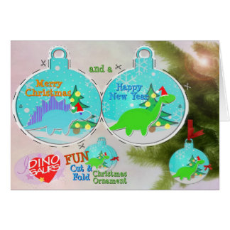 Dinosaurs Cut & Fold Christmas Ornament Craft Card