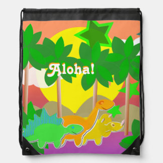 "Dinosaurs Friends Holiday Island ""Aloha!"" Kawaii Drawstring Bag"