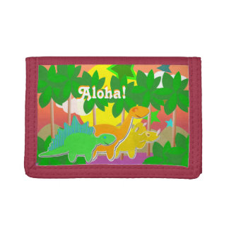 "Dinosaurs Friends Sunset Holiday Island ""Aloha!"" Trifold Wallets"