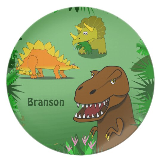 Dinosaurs in the Jungle Personalised Name Dinner Plate