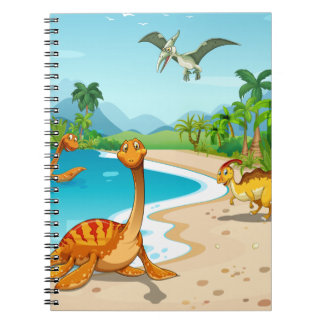 Dinosaurs living on the beach notebook