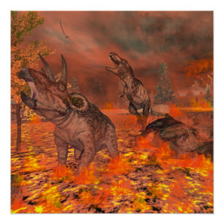 Dinosaurs, tyrannosaurus and triceratops, exctinct