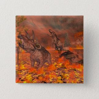 Dinosaurs, tyrannosaurus and triceratops, exctinct 15 cm square badge