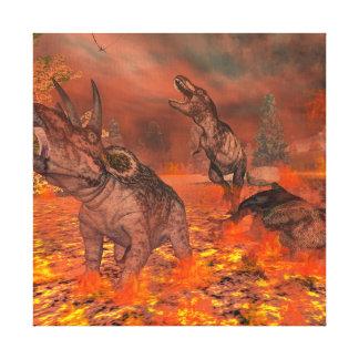 Dinosaurs, tyrannosaurus and triceratops, exctinct canvas print