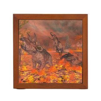 Dinosaurs, tyrannosaurus and triceratops, exctinct desk organiser