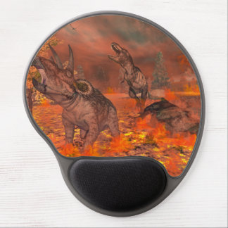 Dinosaurs, tyrannosaurus and triceratops, exctinct gel mouse pad