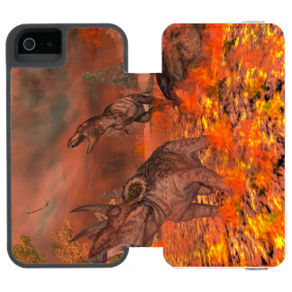 Dinosaurs, tyrannosaurus and triceratops, exctinct incipio watson™ iPhone 5 wallet case