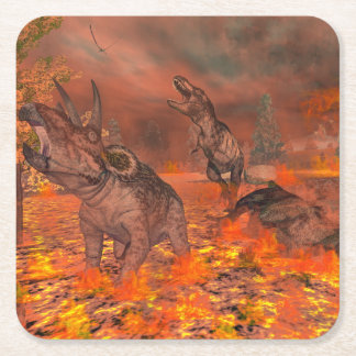 Dinosaurs, tyrannosaurus and triceratops, exctinct square paper coaster