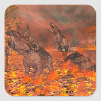 Dinosaurs, tyrannosaurus and triceratops, exctinct square sticker