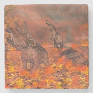Dinosaurs, tyrannosaurus and triceratops, exctinct stone coaster