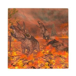 Dinosaurs, tyrannosaurus and triceratops, exctinct wood coaster
