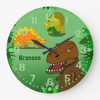Dinosaurs Wall Clock for Kids Personalized Name